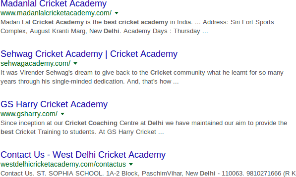 find cricket academy